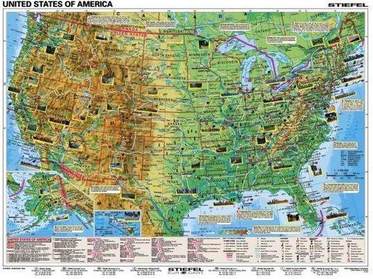 Mapa Scienna Usa Mapa Scienna Dwustronna Stanow Zjednoczonych