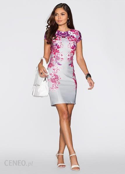 af5be85849 ... Bon Prix Sukienka ecru-ciemnoróżowy z nadrukiem 943133 27441 piwonia z  nadrukiem - zdjęcie ...