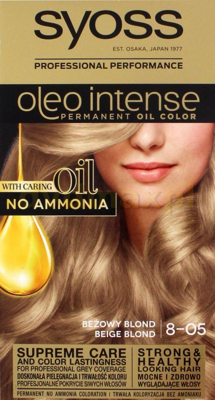 SYOSS Oleo Intense Profesjonalna farba do włosów bez amoniaku 8-05 Beżowy blond