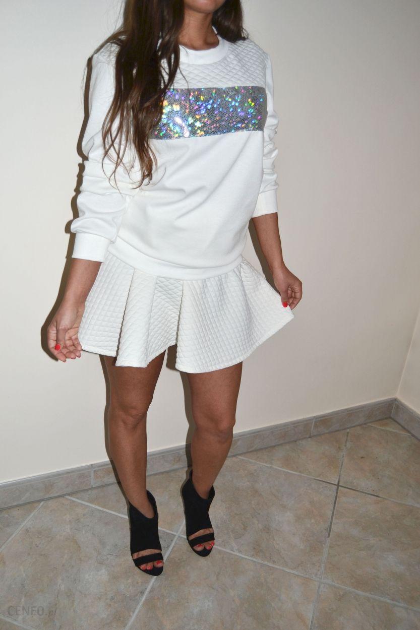 Pikowany zestaw bluza plus spódnica kloszowana pikówka komplet look Rihanna Ceny i opinie Ceneo.pl