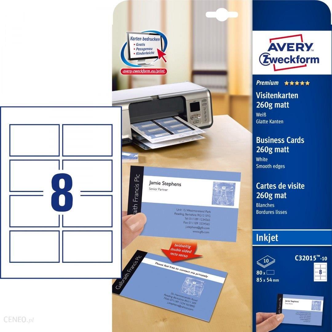 Avery Zweckform Wizytówki Quick Clean 85 X 54 Mm 80 Szt 260 G Matowe Białe