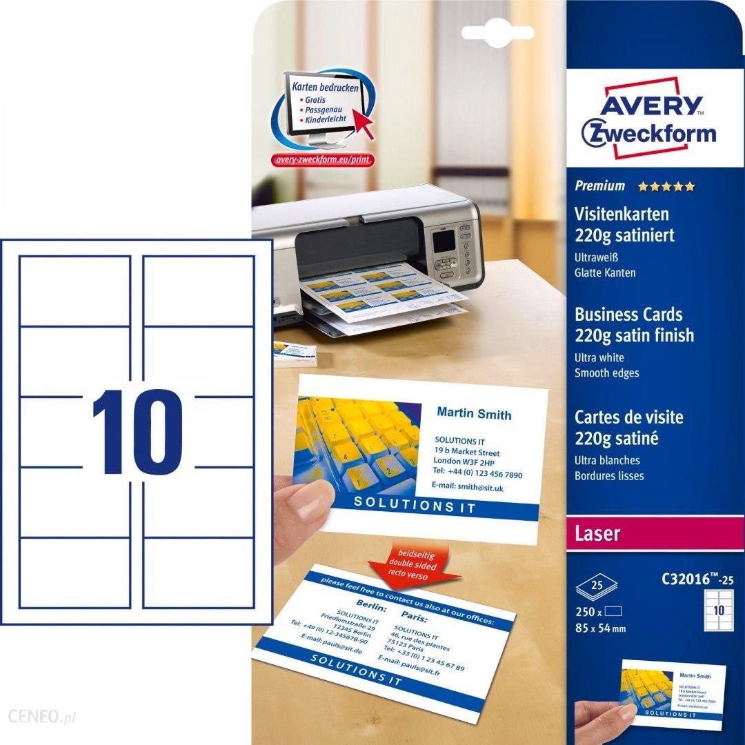 Avery Zweckform Wizytówki Quick Clean Tm Obustronne Satynowe Ultrabiałe 85 X 54 Mm 25 Ark