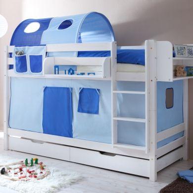 Ticaa łóżko Piętrowe Marcel Sosna Biel Classic Jasnoniebieskiciemnoniebieski Bez Tunelu