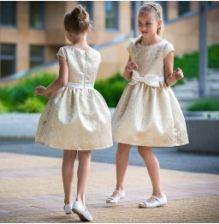 e93bce761f Złota sukienka na wesele dla dziewczynki 74 - 158 Nadia