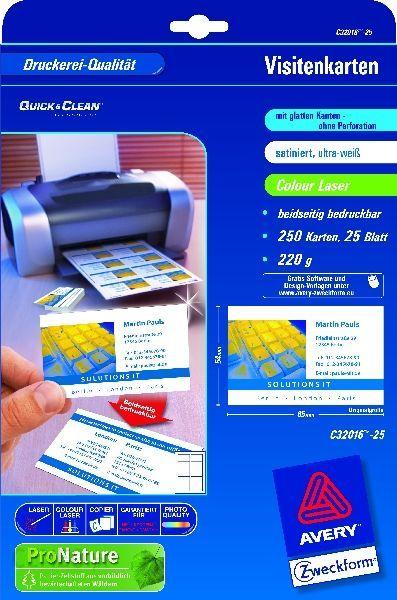 Avery Zweckform Wizytówki Quick Clean Satynowe Ultrabiałe 85 X 54 Mm