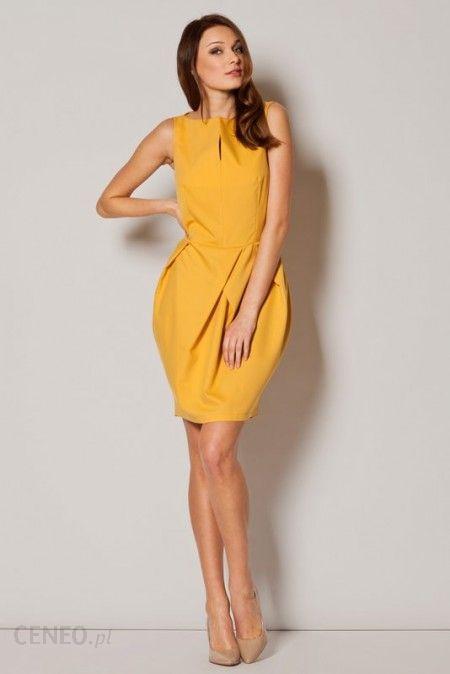 d5e8f6dba8 Fig Elegancka sukienka bombka tulipan M243 żółta - Ceny i opinie ...