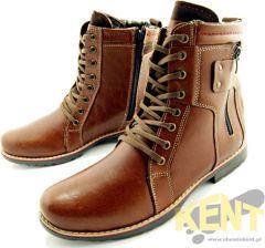 606e60da KENT 237 BRĄZ - Wysokie buty zimowe ze skóry, naturalne futro - Ceny ...