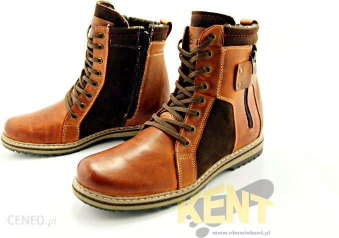 KENT 237 KARMEL+WELUR Wysokie buty zimowe ze skóry