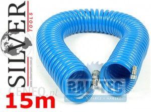 d3c849da294e11 Akcesoria do narzędzi pneumatycznych Silver Wąż pneumatyczny spiralny  szybkozłącza 15 m 8x12mm WPNEU15M - zdjęcie 1