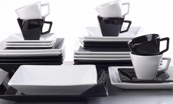 Garneczki Serwis Obiadowo Kawowy Oxford Sortido Kwadratowy Biało