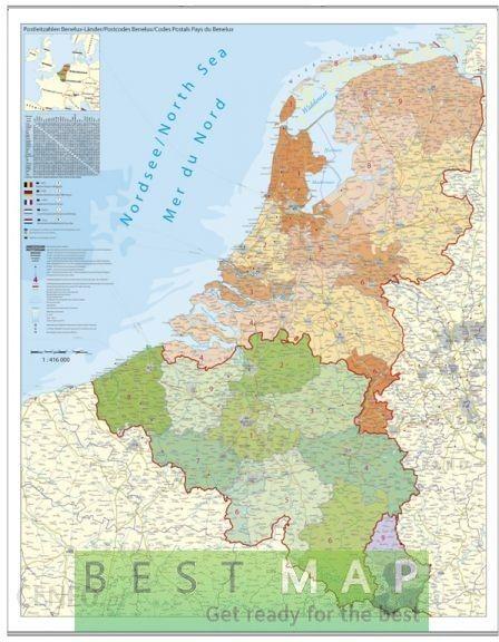 Mapa Scienna Stiefel Eurocart Beneluks Belgia Holandia I