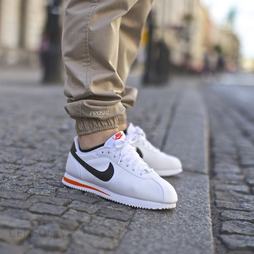Buty Nike Cortez Basic Leather 06 WhiteBlack Orange