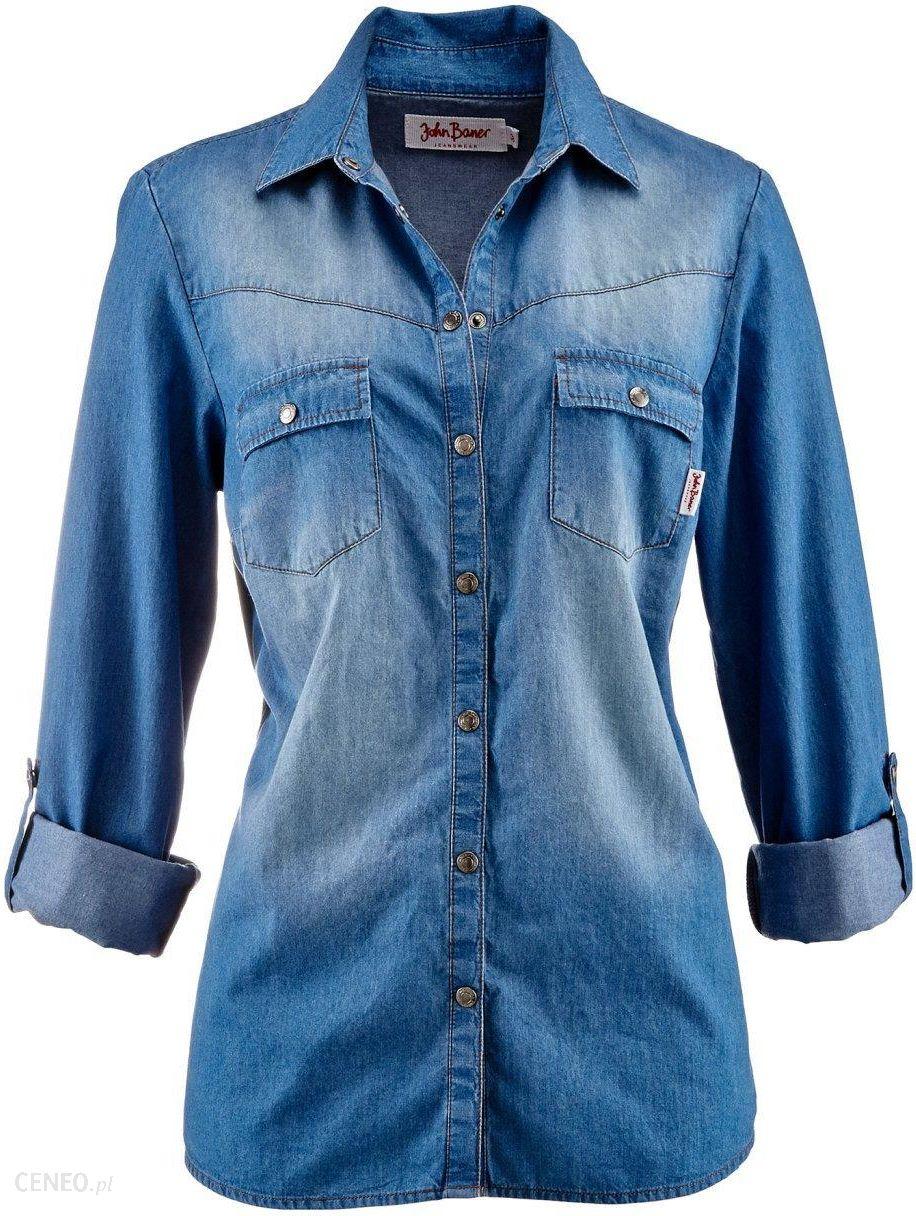Koszula dżinsowa z napami, długi rękaw niebieski medium bleached used