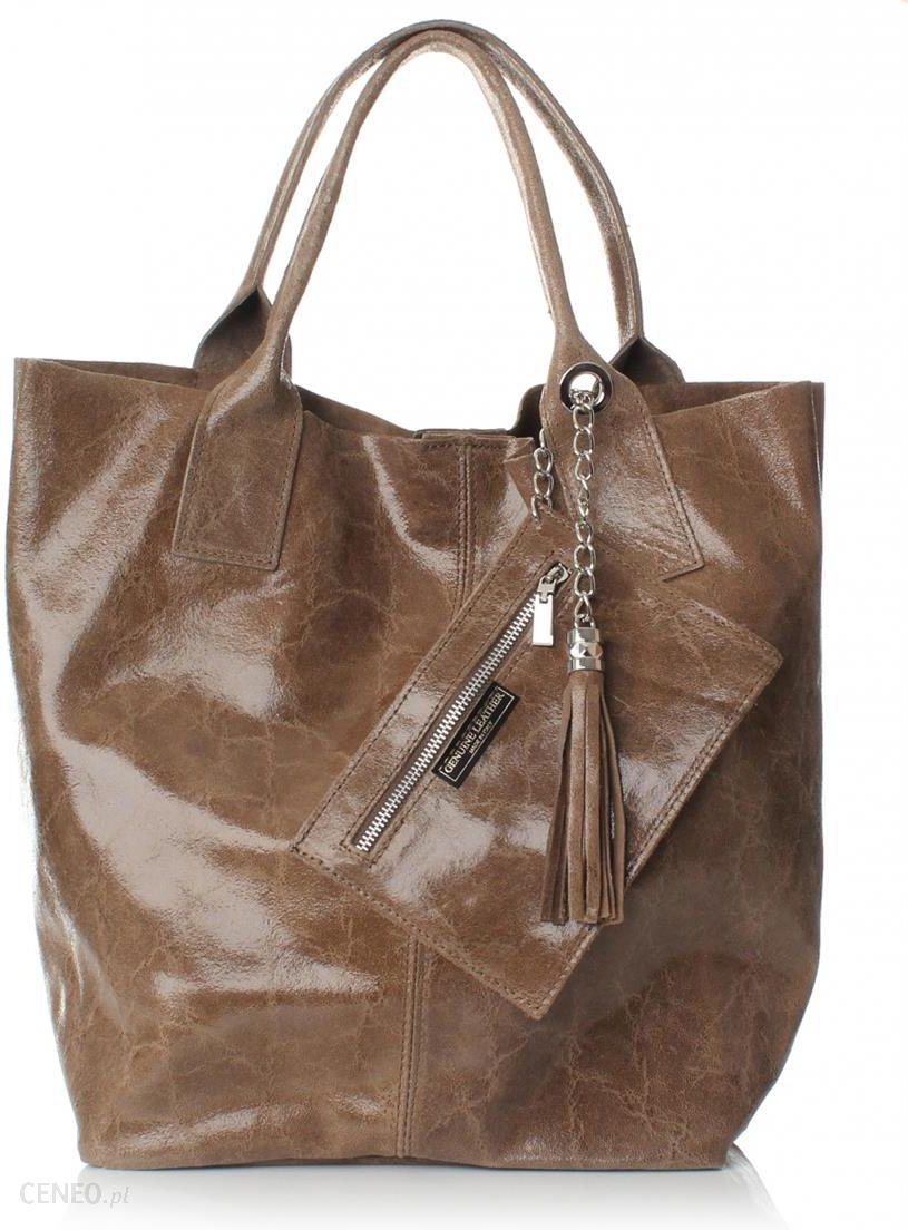 2939071a0b97e Elegancki Shopperbag Genuine Leather Lakierowana Skóra Ziemista (kolory) -  zdjęcie 1