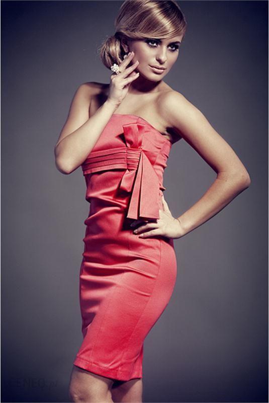 6f2a274487 Koralowa sukienka bez ramiączek