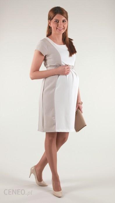 94ed0826 4089 ELEGANCKA sukienka ciążowa BIAŁO-BEŻOWA - Ceny i opinie - Ceneo.pl