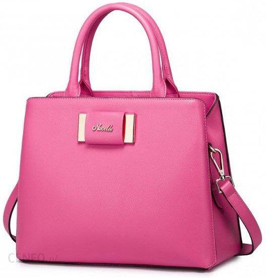 1d21aa6a6cbd3 NUCELLE Skórzana torebka do ręki z kokardą Różowa - Ceny i opinie ...