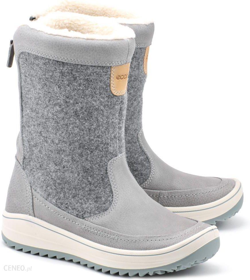 5a5e15b7 Ecco Trace - Szare Skórzane Śniegowce Damskie - 83401355879 - Ceny i ...