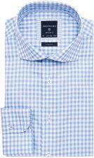 Elegancka koszula męska biała w dużą niebieską kratę SLIM  HWlCN