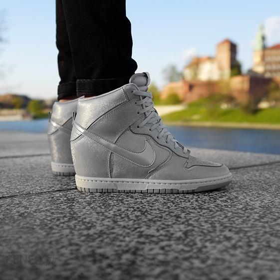 Buty damskie sneakersy koturny Nike Dunk Sky HI 528899 013 sneakerstudio pl szary sportowe casual