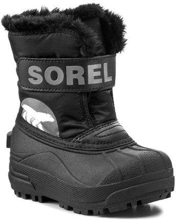 b10980810c195 Śniegowce SOREL - Snow Commander Childrens NC 1877-010 Black Charcoal  eobuwie. Buty zimowe ...