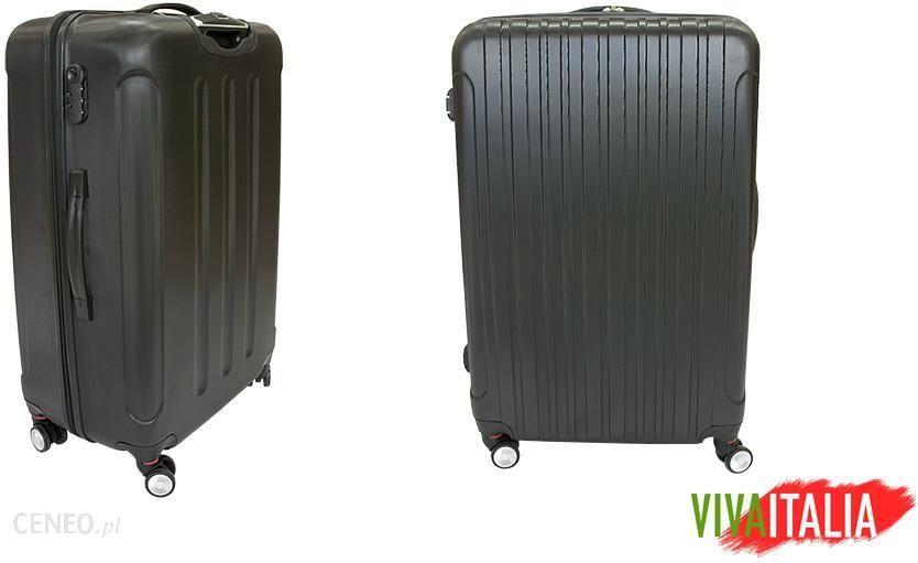 8820cc9b76976 Luksusowa Walizka Podróżna VIVA ITALIA rozmiar ŚREDNIA z poliwęglanu kolor  CZARNA - średnia walizka czarna ...