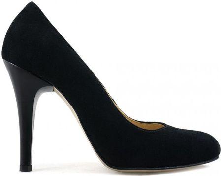 Czarne buty damskie szpilki zgrabne błyszczące 38