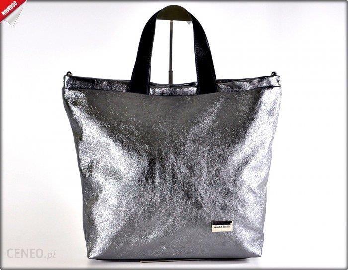 26b93f7914ed3 TOREBKA włoska worek szara srebrna stalowa skóra błyszcząca - Ceny i ...