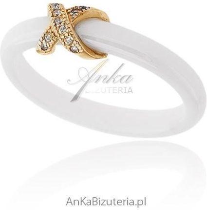 0243d73c0a81 Anka Biżuteria Pierścionek Ceramiczny Srebrny Pozłacany (84