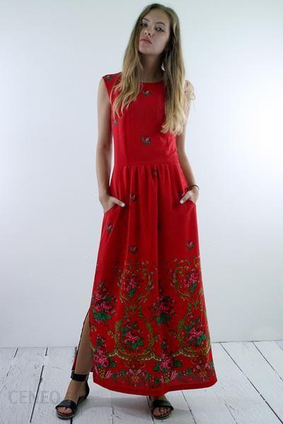 2ec073ed87 Długa folkowa sukienka w kwiaty