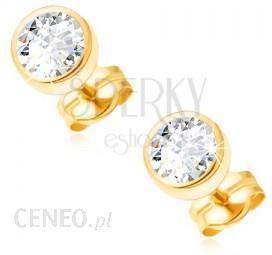 d83ddb56f4caf1 BiżuteriaE-Shop Złote kolczyki wkręty 585 - lśniąca okrągła oprawka  przezroczysta lśniąca cyrkonia 5 mm