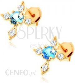 a318b524b34c0c BiżuteriaE-Shop Złote kolczyki wkręty 585 - krzyż o cyrkoniowych ramionach  niebieski topaz - zdjęcie