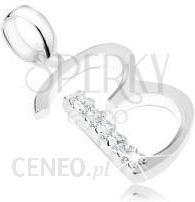 Biżuteriae Shop Wisiorek Ze Srebra 925 Wielka Litera B Ozdobiona Pasem Z Przejrzystych Cyrkonii