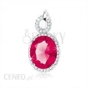 68a11e7fe04955 BiżuteriaE-Shop Srebrny wisiorek 925 czerwonoróżowy cyrkoniowy owal  przejrzysta obwódka zarys kropli - zdjęcie 1