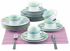 Renberg Serwis Obiadowy Zestaw 30 Szt Kolorowe Paski Rb 80131
