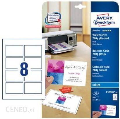 Avery Zweckform Wizytówki Quick Clean250g Wysokobłyszczące 80szt C32028 10 Ceny I Opinie Ceneo Pl