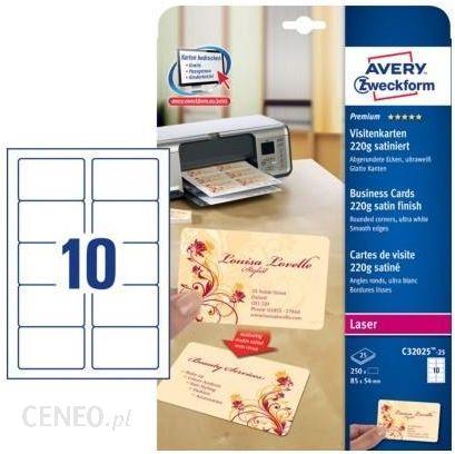 Avery Zweckform Wizytówki Quick Clean Satynowane 220g Z Zaokrąglonymi Brzegami C32025 25 Ceny I Opinie Ceneo Pl