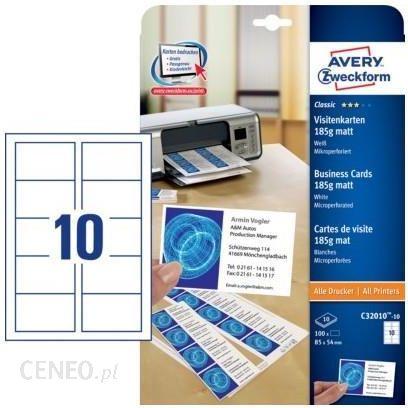 Avery Zweckform Wizytówki Z Mikroperforacją 185g Obustronne Matowe 100szt C32010 10 Ceny I Opinie Ceneo Pl