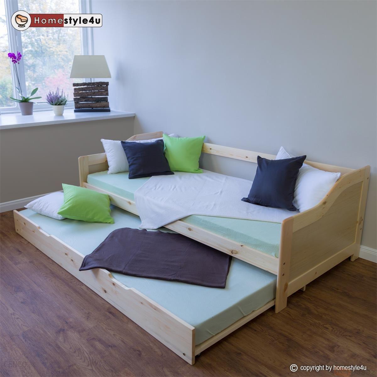 Homestyle4u łóżko Młodzieżowe Dziecięce Rozkładane 90x200 Kolor Naturalnego Drewna Hsu1421