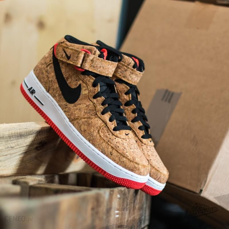 on sale 2b5fc 7701d Nike Air Force 1 Mid ´07 Cork, Natural Black- Bright Crimson -