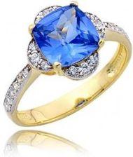 Jubiler Złoty Pierścionek P1752 Z Niebieskim Kamieniem Rozmiar 22