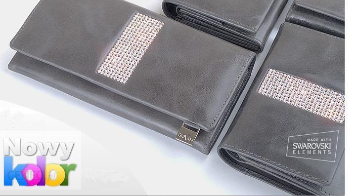 222776ff350a3 cv-540 szary skórzany portfel damski z kamieniami swarovskiego - zdjęcie 1