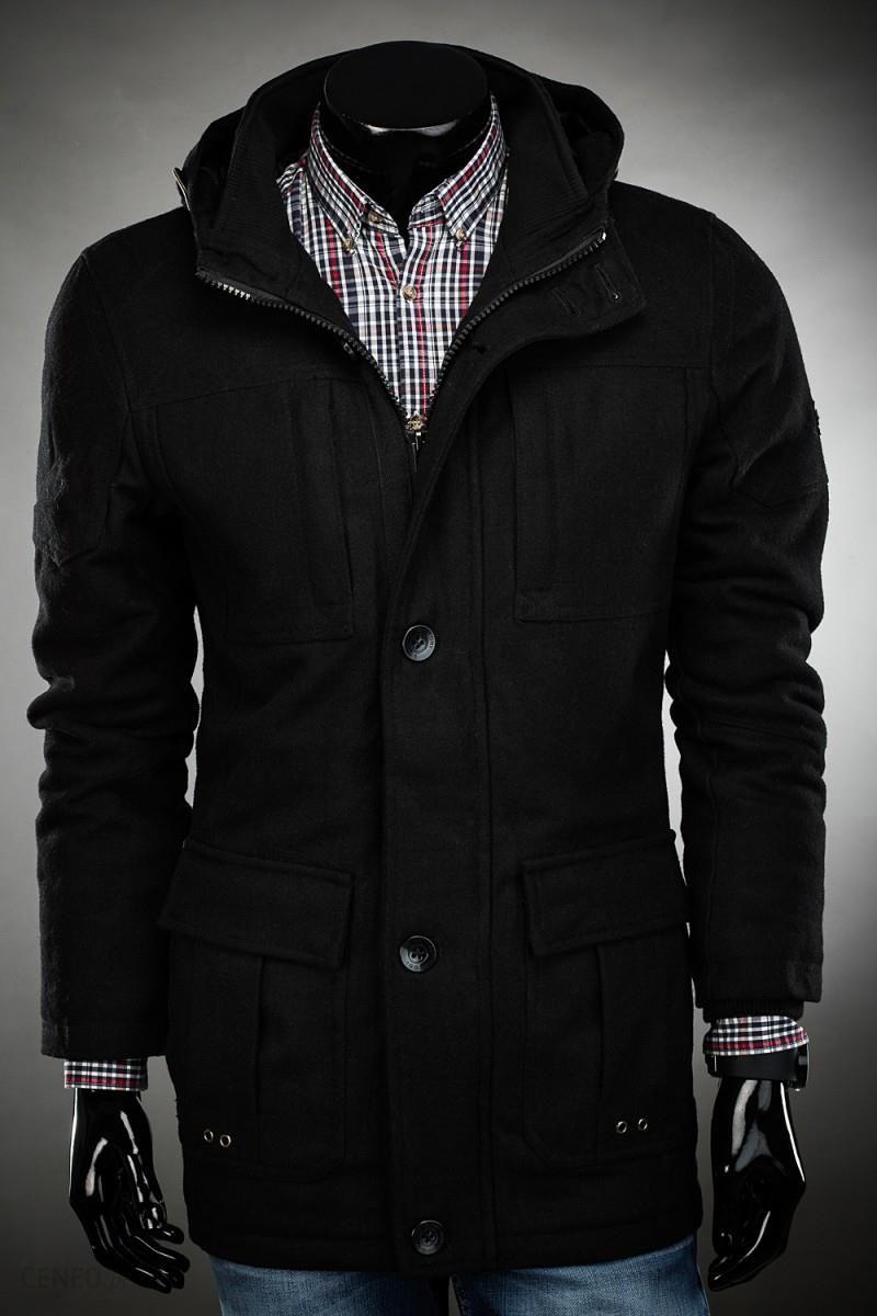 Płaszcz męski ocieplany z flauszu z kapturem 7273 czarny