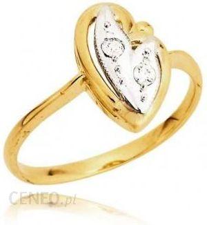 e0683394c9c12d Jubiler Cieszyn Złoty pierścionek w kształcie serca wypełnione białym  złotem i cyrkoniami - zdjęcie 1