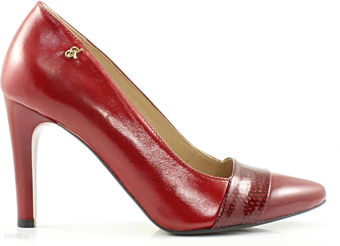 0817d0fe KORDEL 1049 BORDOWY - Klasyczne czerwone szpilki ze skóry naturalnej -  zdjęcie 1