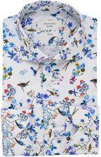 Elegancka biała koszula Profuomo w kwiaty i ptaki Ceny i  oRNqn