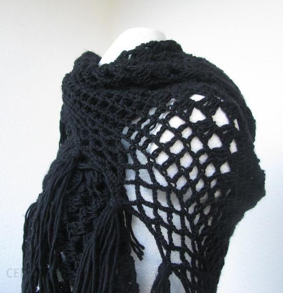 24d460ab0eebbe szydełkowa chusta wełniana czarna z frędzlami
