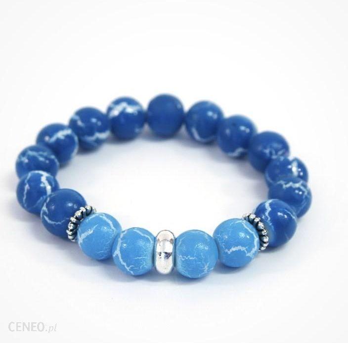 Bransoletka z koralików 10 mm Niebieska - zdjęcie 1; « »