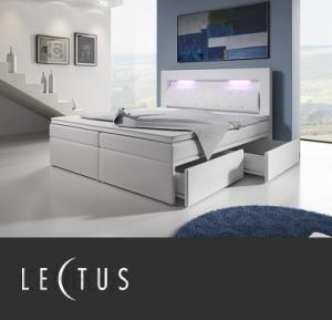 Lectus łóżko Kontynentalne Tapicerowane Białe Materac 140x200
