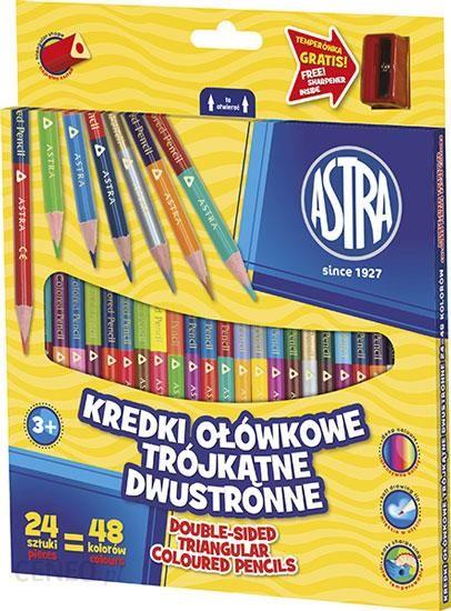 Astra Kredki Ołówkowe Dwustronne Trójkątne 24 = 48 Kolorów